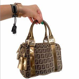 Auth VTG Fendi Zucchino Mini Boston Bag Gold